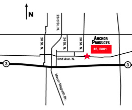 Click to see printable map of Anchor Products Lethbridge, Alberta location.